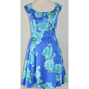 REVIEW BLUE & GREEN FLORAL SATIN FIT & FLARE DRESS